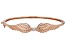 White Cubic Zirconia 18K Rose Gold Over Sterling Silver Angel Wing Heart Bracelet 0.18ctw