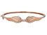 White Cubic Zirconia 18K Rose Gold Over Sterling Silver Angel Wing Heart Bracelet 0.18ctw