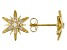 White Cubic Zirconia 18k Yellow Gold Over Sterling Silver Star Stud Earrings 0.21ctw