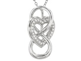 White Cubiz Zirconia Rhodium Over Sterling Silver Infinity Heart Pendant With Chain 0.41ctw