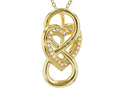 White Cubic Zirconia 18k Yellow Gold Over Sterling Silver Infinity Heart Pendant With Chain 0.41ctw