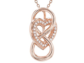 White Cubic Zirconia 18k Rose Gold Over Sterling Silver Infinity Heart Pendant With Chain 0.41ctw