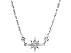 White Cubic Zirconia Rhodium Over Sterling Silver Star Necklace 0.17ctw