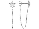 White Cubic Zirconia Rhodium Over Sterling Silver Star Earrings 0.22ctw