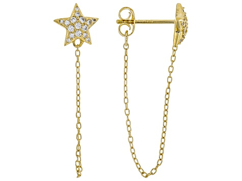 White Cubic Zirconia 18K Yellow Gold Over Sterling Silver Star Earrings 0.22ctw