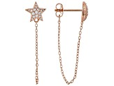 White Cubic Zirconia 18K Rose Gold Over Sterling Silver Star Earrings 0.22ctw