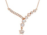 White Cubic Zirconia 18K Rose Gold Over Sterling Silver Star Necklace 6.11ctw