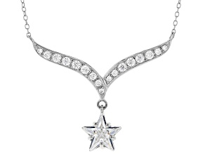 White Cubic Zirconia Rhodium Over Sterling Silver Star Necklace 5.42ctw