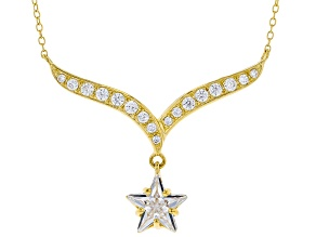 White Cubic Zirconia 18K Yellow Gold Over Sterling Silver Star Necklace 5.42ctw