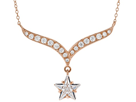 White Cubic Zirconia 18K Rose Gold Over Sterling Silver Star Necklace 5.42ctw