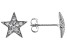 White Cubic Zirconia Rhodium Over Sterling Silver Star Stud Earrings 0.35ctw