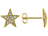White Cubic Zirconia 18K Yellow Gold Over Sterling Silver Star Stud Earrings 0.35ctw