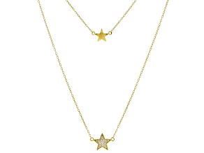 White Cubic Zirconia 18K Yellow Gold Over Sterling Silver Star Necklace 0.18ctw