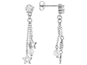 White Cubic Zirconia Rhodium Over Sterling Silver Star Dangle Earrings 2.96ctw