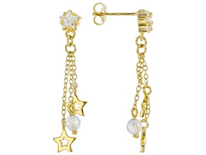 White Cubic Zirconia 18K Yellow Gold Over Sterling Silver Star Dangle Earrings 2.96ctw