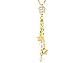 White Cubic Zirconia 18K Yellow Gold Over Sterling Silver Star Pendant With Chain 3.18ctw