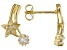 White Cubic Zirconia 18k Yellow Gold Over Sterling Silver Star Stud Earrings 0.70ctw