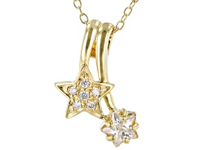 White Cubic Zirconia 18k Yellow Gold Over Sterling Silver Star Pendant With Chain 0.75ctw