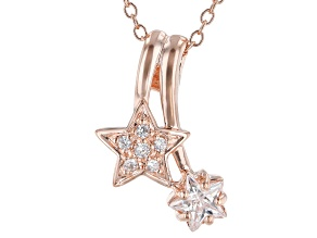 White Cubic Zirconia 18k Rose Gold Over Sterling Silver Star Pendant With Chain 0.75ctw