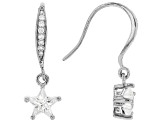 White Cubic Zirconia Rhodium Over Sterling Silver Star Earrings 2.26ctw