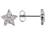 White Cubic Zirconia Rhodium Over Sterling Silver Star Stud Earrings 0.32ctw