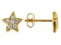 White Cubic Zirconia 18k Yellow Gold Over Sterling Silver Star Stud Earrings 0.32ctw