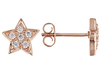 Picture of White Cubic Zirconia 18k Rose Gold Over Sterling Silver Star Stud Earrings 0.32ctw