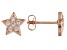 White Cubic Zirconia 18k Rose Gold Over Sterling Silver Star Stud Earrings 0.32ctw