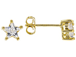 White Cubic Zirconia 18K Yellow Gold Over Sterling Silver Star Stud Earrings 1.29ctw