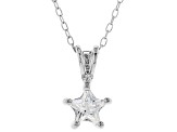 White Cubic Zirconia Rhodium Over Sterling Silver Pendant With Chain 0.64ctw