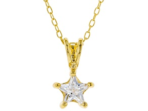White Cubic Zirconia 18K Yellow Gold Over Sterling Silver Pendant With Chain 0.64ctw