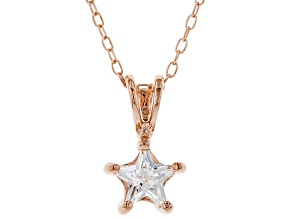 White Cubic Zirconia 18K Rose Gold Over Sterling Silver Pendant With Chain 0.64ctw