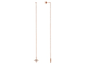 White Cubic Zirconia 18K Rose Gold Over Sterling Silver Star Drop Earrings 0.20ctw