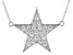 White Cubic Zirconia Rhodium Over Sterling Silver Star Necklace 0.73ctw