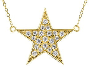 White Cubic Zirconia 18k Yellow Gold Over Sterling Silver Star Necklace 0.73ctw