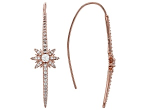 White Cubic Zirconia 18K Rose Gold Over Sterling Silver Star Threader Earrings 1.19ctw