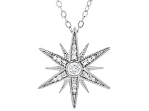 White Cubic Zirconia Rhodium Over Sterling Silver Star Pendant With Chain 0.55ctw