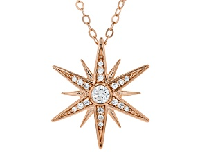 White Cubic Zirconia 18K Rose Gold Over Sterling Silver Star Pendant With Chain 0.55ctw