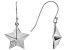 White Cubic Zirconia Rhodium Over Sterling Silver Star Dangle Earrings 0.18ctw