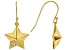 White Cubic Zirconia 18K Yellow Gold Over Sterling Silver Star Dangle Earrings 0.18ctw