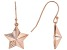 White Cubic Zirconia 18K Rose Gold Over Sterling Silver Star Dangle Earrings 0.18ctw