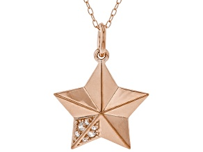 White Cubic Zirconia 18K Rose Gold Over Sterling Silver Star Pendant With Chain 0.08ctw