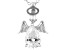 White Cubic Zirconia Rhodium Over Sterling Silver Angel Pendant With Chain 2.13ctw