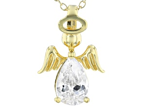 White Cubic Zirconia 18k Yellow Gold Over Sterling Silver Angel Pendant With Chain 2.13ctw
