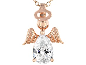 White Cubic Zirconia 18k Rose Gold Over Sterling Silver Angel Pendant With Chain 2.13ctw