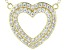 White Cubic Zirconia 18k Yellow Gold Over Sterling Silver Heart Necklace 1.56ctw