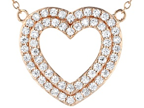White Cubic Zirconia 18k Rose Gold Over Sterling Silver Heart Necklace 1.56ctw