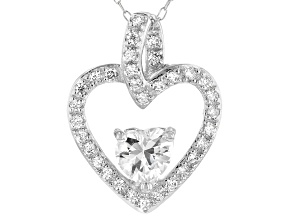 White Cubic Zirconia Rhodium Over Sterling Silver Heart Pendant With Chain 1.78tcw