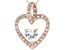 White Cubic Zirconia 18k Rose Gold Over Sterling Silver Heart Pendant With Chain 1.78ctw