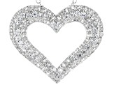 White Cubic Zirconia Rhodium Over Sterling Silver Heart Pendant With Chain 2.22ctw